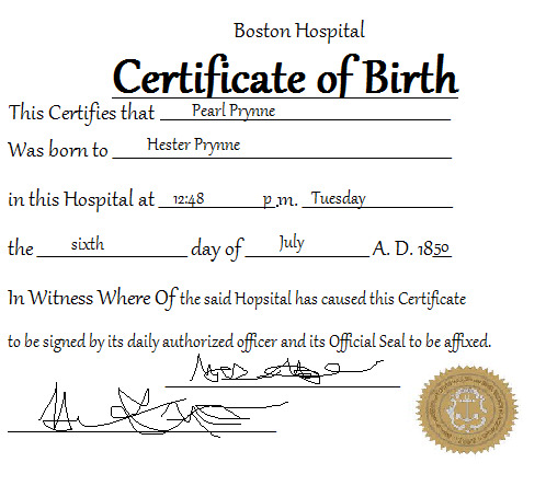Birth Certificate of Pearl - Emily\'s English Blog